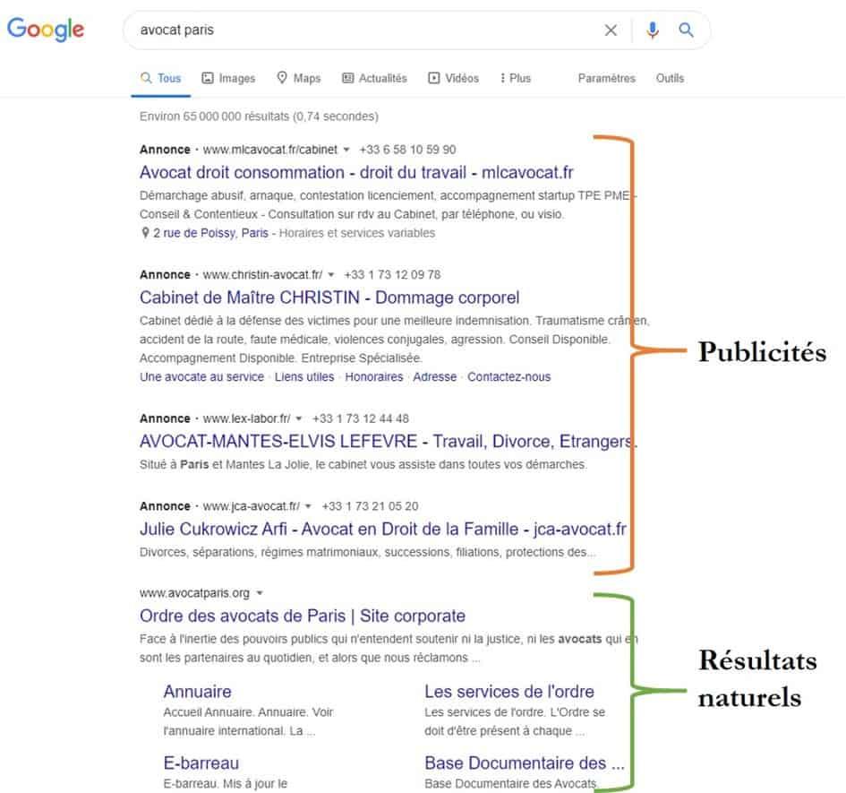 Exemple de recherche sur Google pour